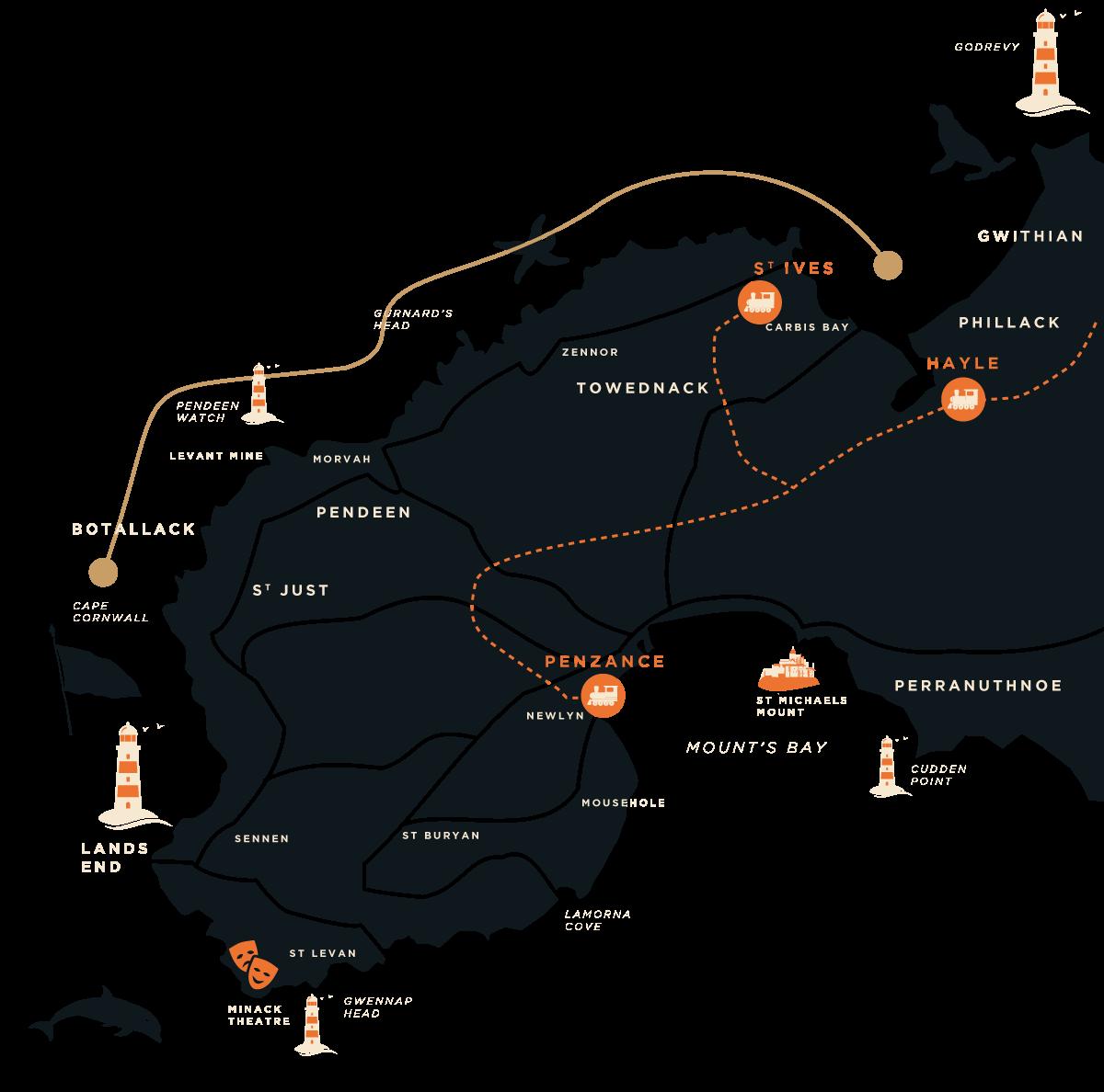 Cape Cornwall Boat Trip Map