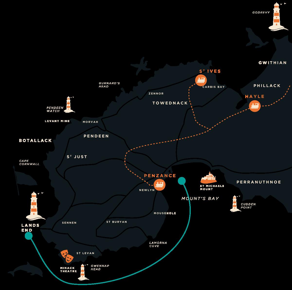 Lands End Coast Boat Trip Map