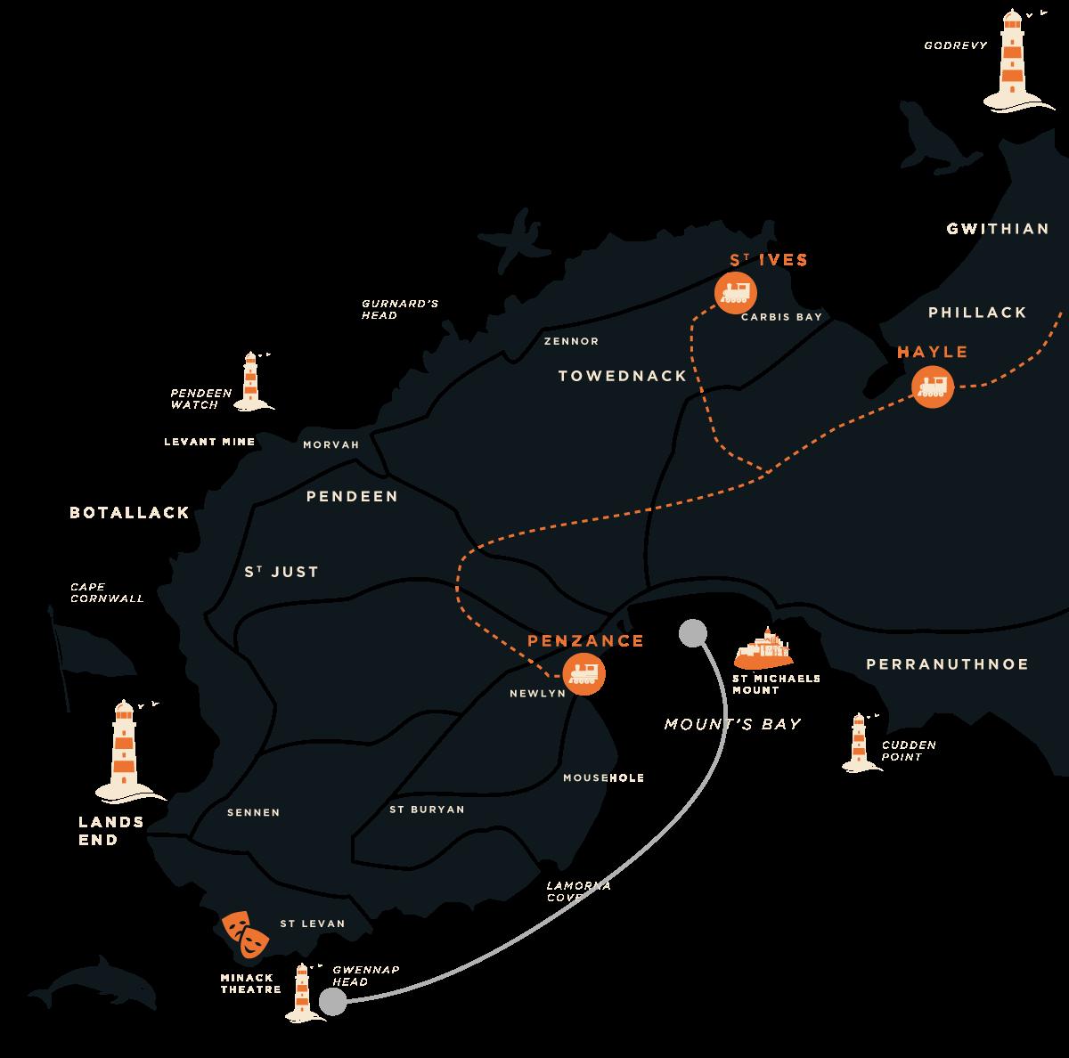 Mounts Bay Coast Boat Trip map